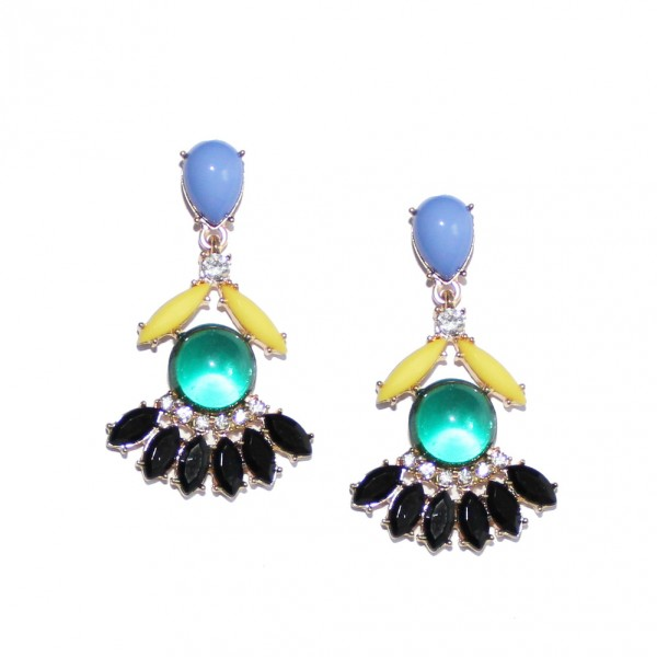 Mendel Neon Feather Moonstone Statement Earrings
