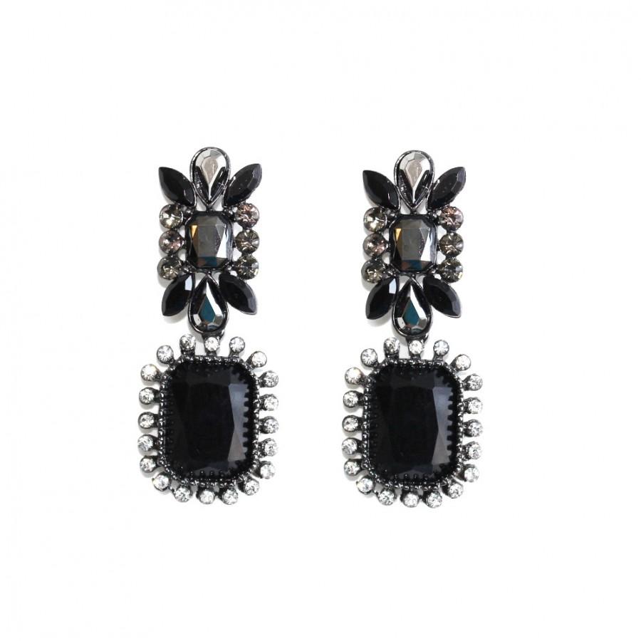Moria Dark Onyx Gems Statement Earrings