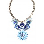 Blue Morning Sky Crystal Flower Statement Necklace