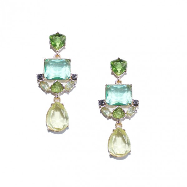 Fauna Green Geo Stone Cluster Earrings