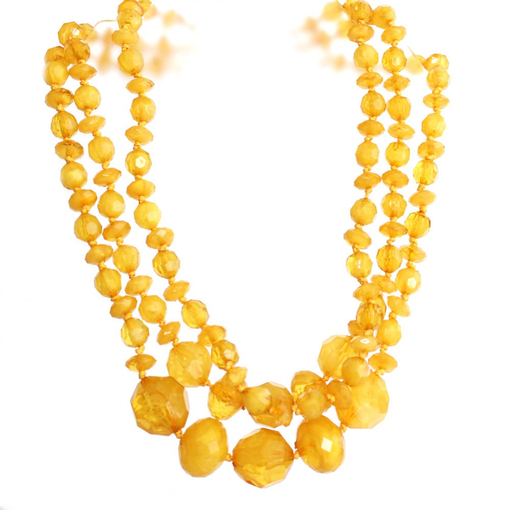 Mustard Yellow Give It A Swirl Tiered Beads Statement Necklace