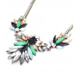 Myrna Marquise Stone Spike Leaf Statement Necklace