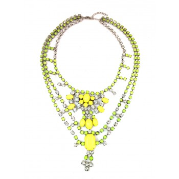 Clara Neon Yellow Bubble Crystal Ctatement Necklace