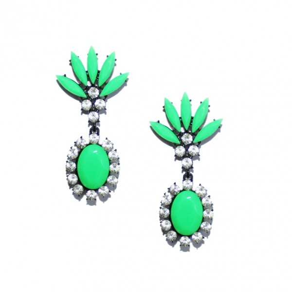 Princesse Crown Neon Green Marquise Crystal Earrings