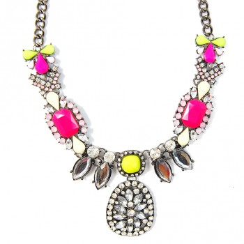 Neon Crystal Cluster Jewel Mix Statement Bib Necklace