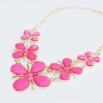 Neon Pink Daisy Linked Floral Necklace