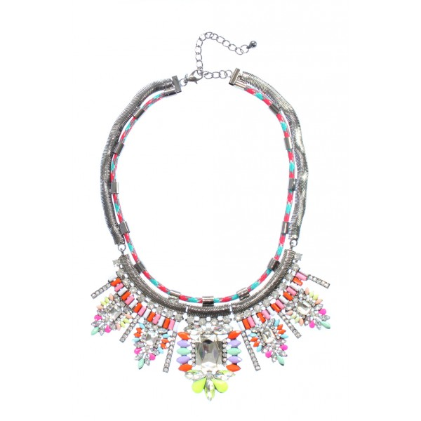 Oren Neon & Pastel Threaded Crystal Choker Necklace
