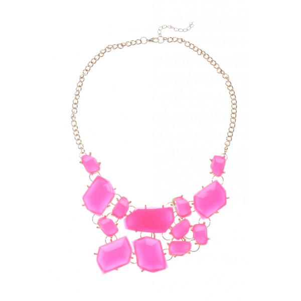 Neon Pink Stone Fragments Bib Necklace