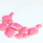 Hot Pink Stone Fragments Bauble Necklace