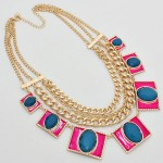 Mod Neon Pink Metal Stone Statement Necklace