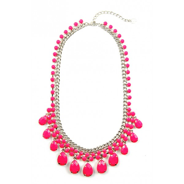 Neon Pink Teardrop Resin Stone Statement Necklace