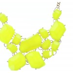 Neon Yellow Stone Fragments Statement Bib Necklace