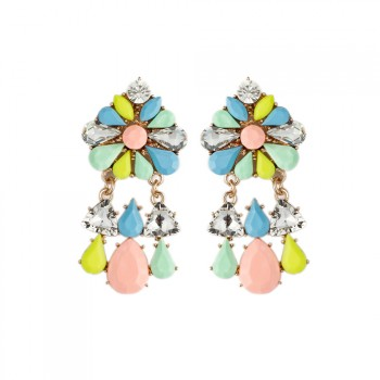 ELOI Pastel Floral Crystal Drop Earrings