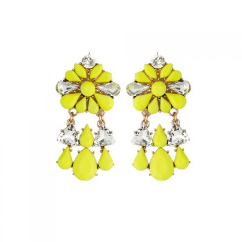 ELOI Neon Yellow Floral Crystal Drop Earrings
