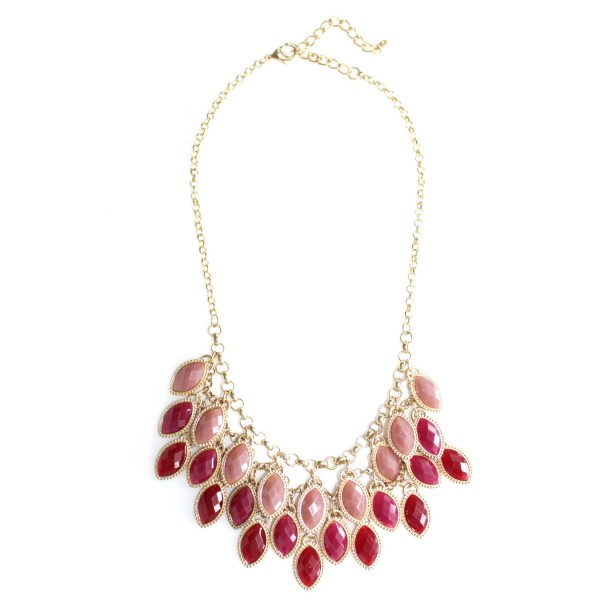 Wine Ombre Laurel Stone Bib Necklace