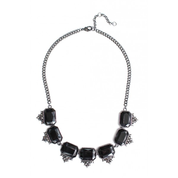 Seeki Geo Onyx Spike Statement Necklace