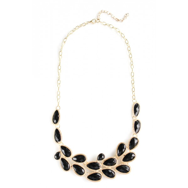 'Wilbur' Black Teardrop Stones Crescent Necklace