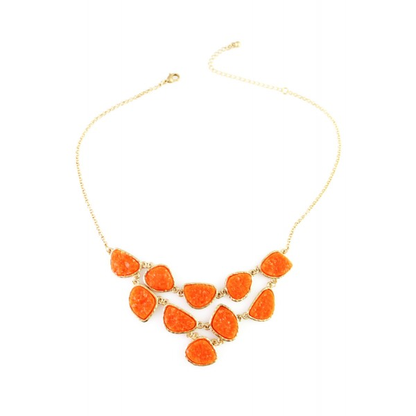 Orange Druzy Stone Link Bib Necklace