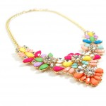 Pastel Candy Amaryllis Stone Flower Cluster Crystal Statement Necklace