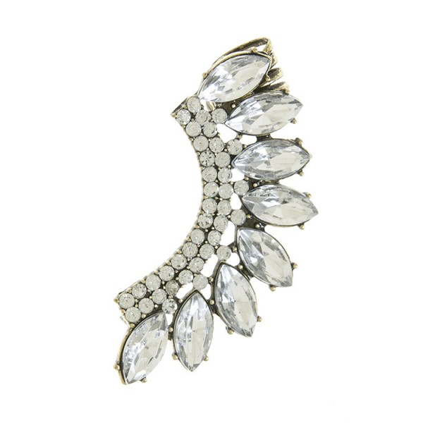 Crystal Wing Antique Gold Ear Cuff