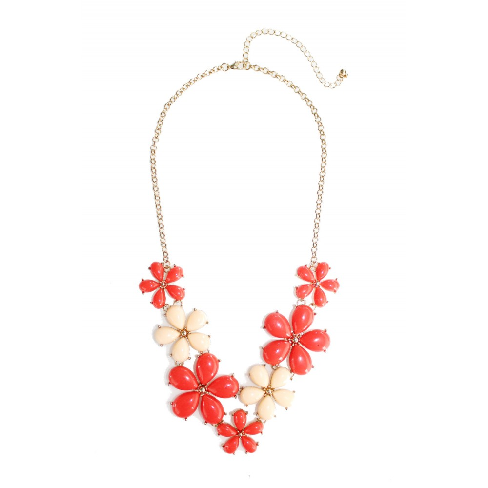 Red Blush Floral Daisy Bauble Statement Bib Necklace