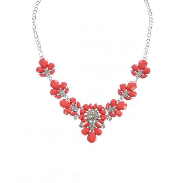 Firecracker Red Stone Flower Cluster Necklace