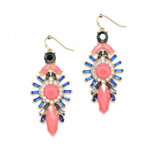 Red Sun Goddess Cobalt Rays Earrings