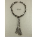 Adriana Knot Tassel Black Kickel Y Chain Necklace