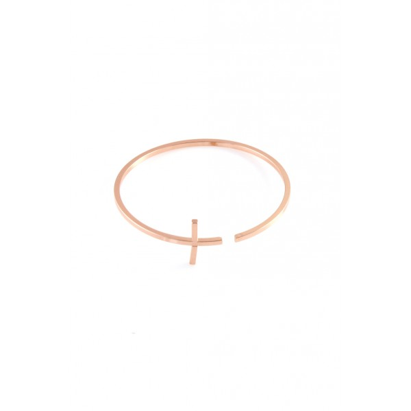 Rose Gold Cross Minimalist Bracelet
