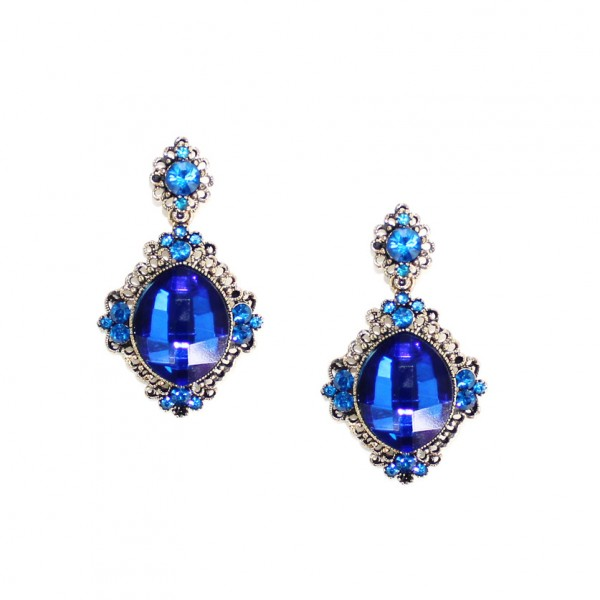 Chanda Sapphire Gemstone Drop Bridal Earrings