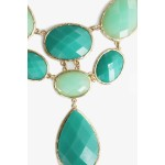 Seafoam Green Faceted Oval & Teardrop Stone Necklace