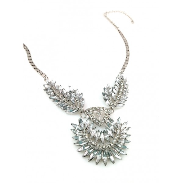 Silver Wings Art Deco Crystal Statement Necklace