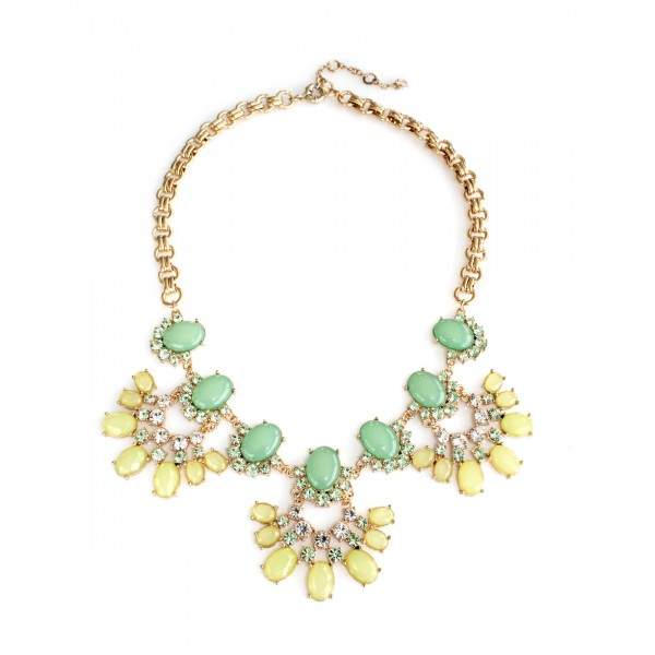 Glam Crystal Cabochons Fan Statement Necklace
