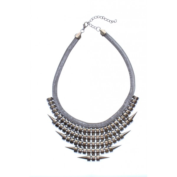 Spike It Up Tiered Chain Statement Necklace