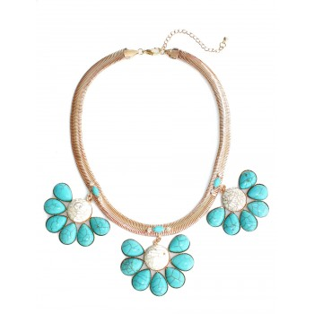 'Skyler' Marbled Turquoise Flower Boho Necklace