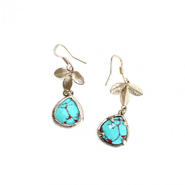 Laurel Turquoise Marble Teardrop Stone Drop Earrings