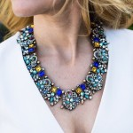 Seeki Hand-painted Metallic Jewel Cluster Statement Necklace