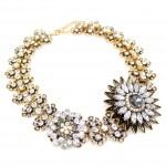 Diantha Grey Crystal Flower Statement Necklace