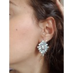 Opal Light Blue Geo Crystal Stud Earrings