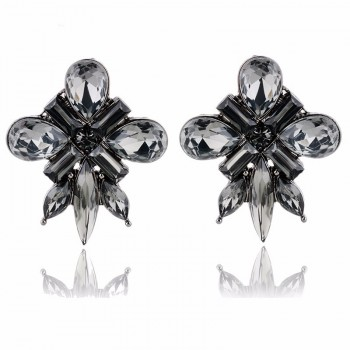 Smokey Gray Starlet Crystal Gems Stud Earrings