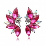 Fuchsia Pink Crystal Stone Burst Statement Earrings