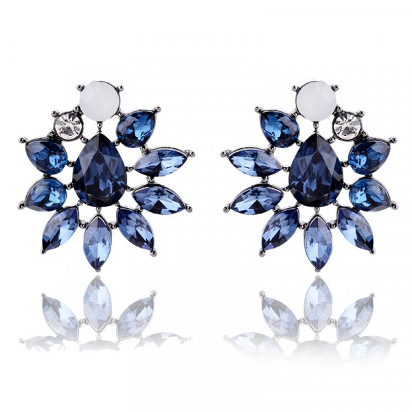 Sapphire Blue Floral Burst Crystal Stud Earrings