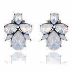 Ivory Aurora Opal Teardrop Art Deco Stud Earrings
