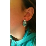 Emerald Green Marquise Stone Burst Earrings