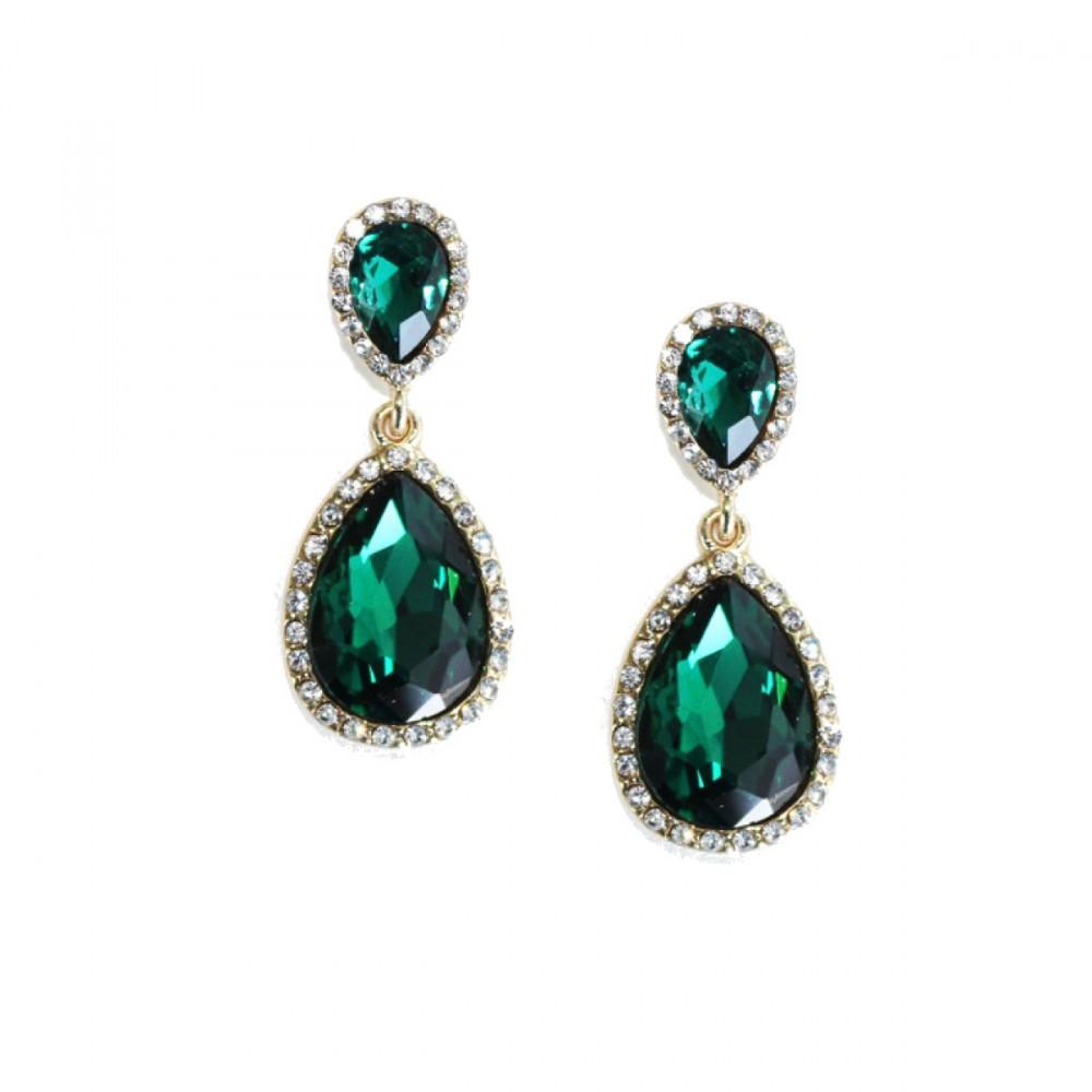 Emerald Teardrop Earrings Flawless Cubic Ss Platinum