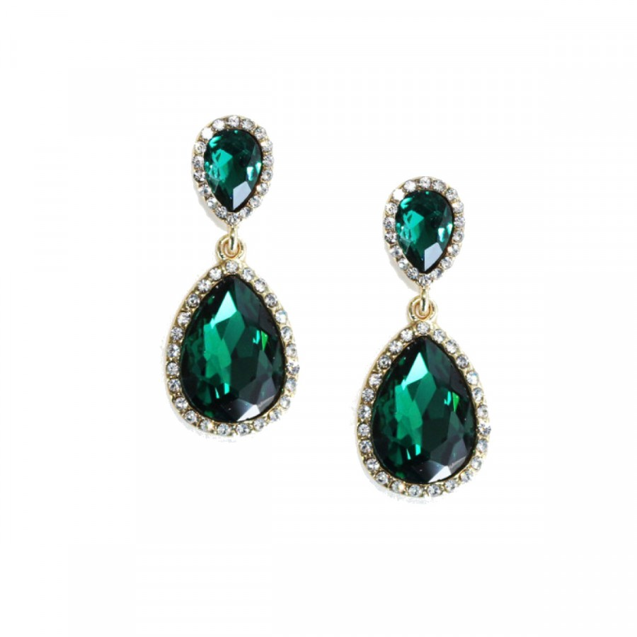 Jolie Emerald Teardrop Earrings