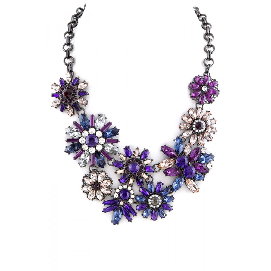 set a purple stone line necklace dulhan