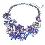 Pick Me Up Purple Stone Encrusted Flower Statement Necklace