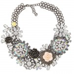 Aurora Borealis Hydrangea Flower Stone Encrusted Statement Necklace