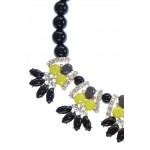 Neon Flower Black Beads Statement Necklace
